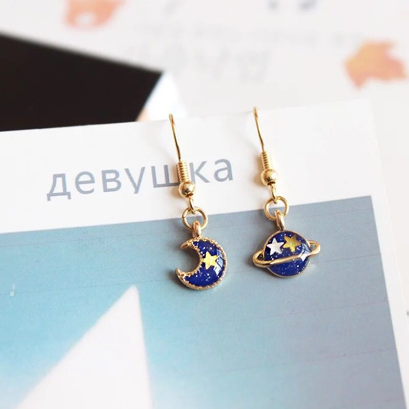 ac45cc143 Korean Ulzzang Asymmetrical Planet & Moon Dangle Earrings, Women's ...