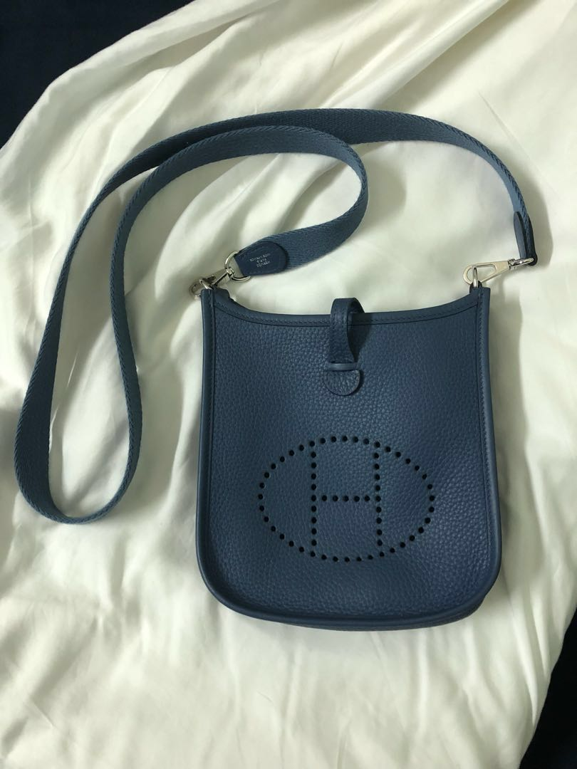 ... sale like new authentic hermes evelyne tpm blue brighton clemence 58648  426e1 68a16ef364c57
