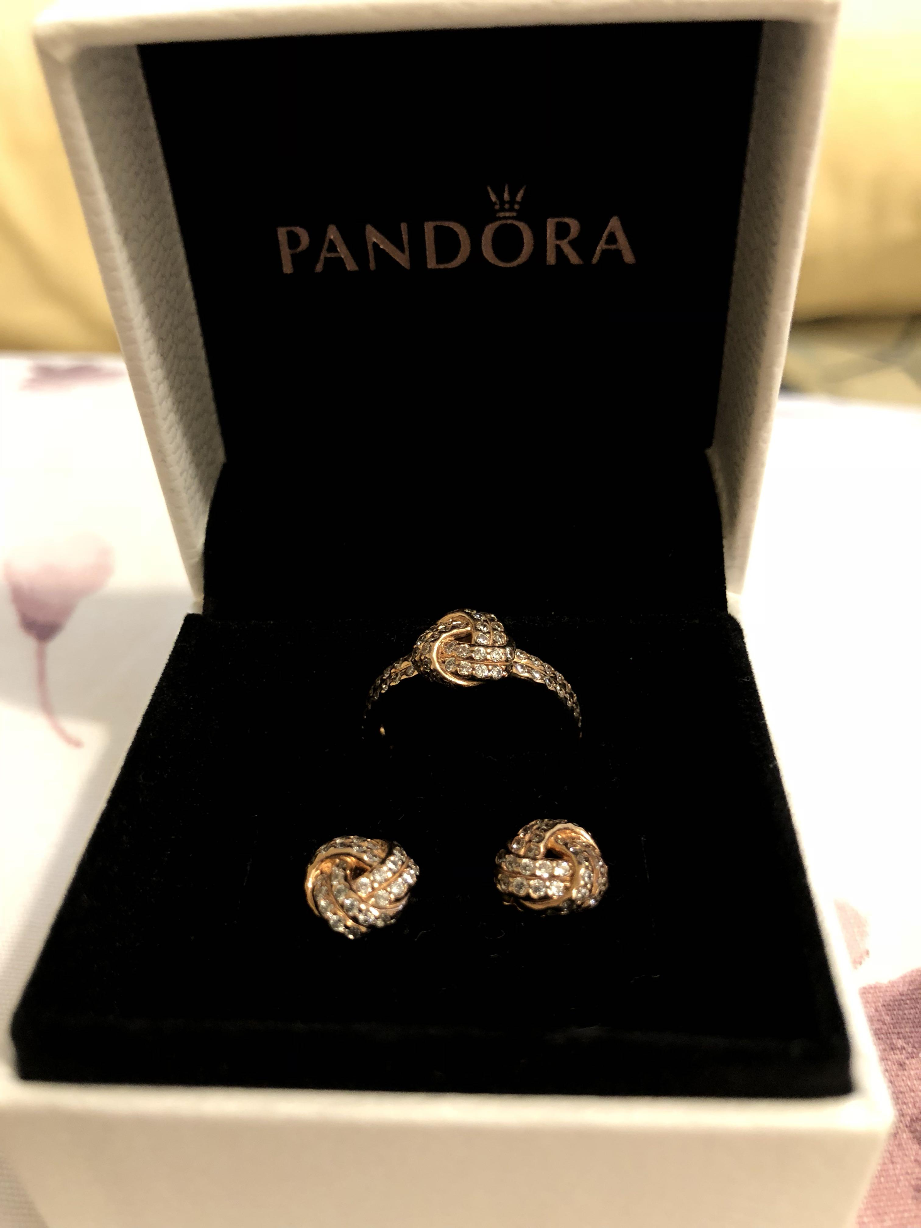 d949fa928 PANDORA Sparkling Love Knot Earrings & Ring (Rose Gold) on Carousell
