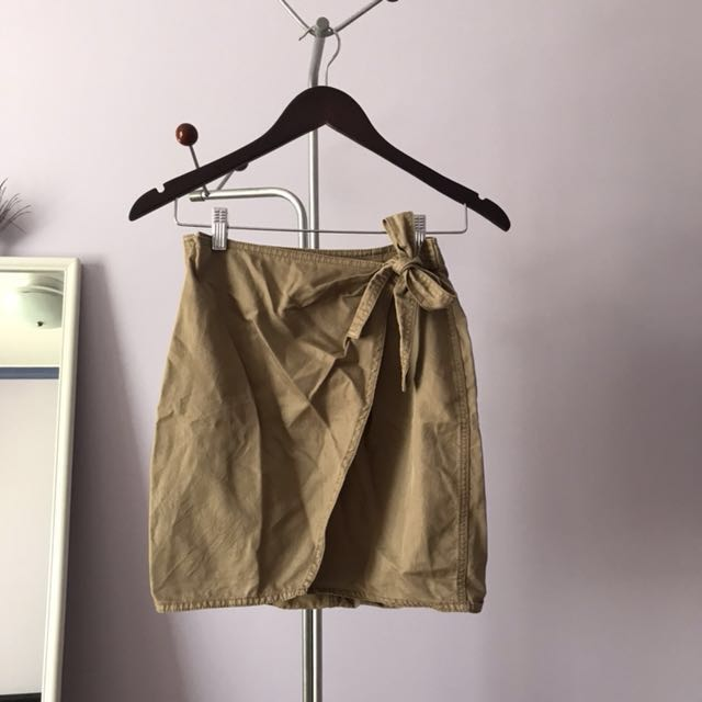 Tan mini wrap skirt