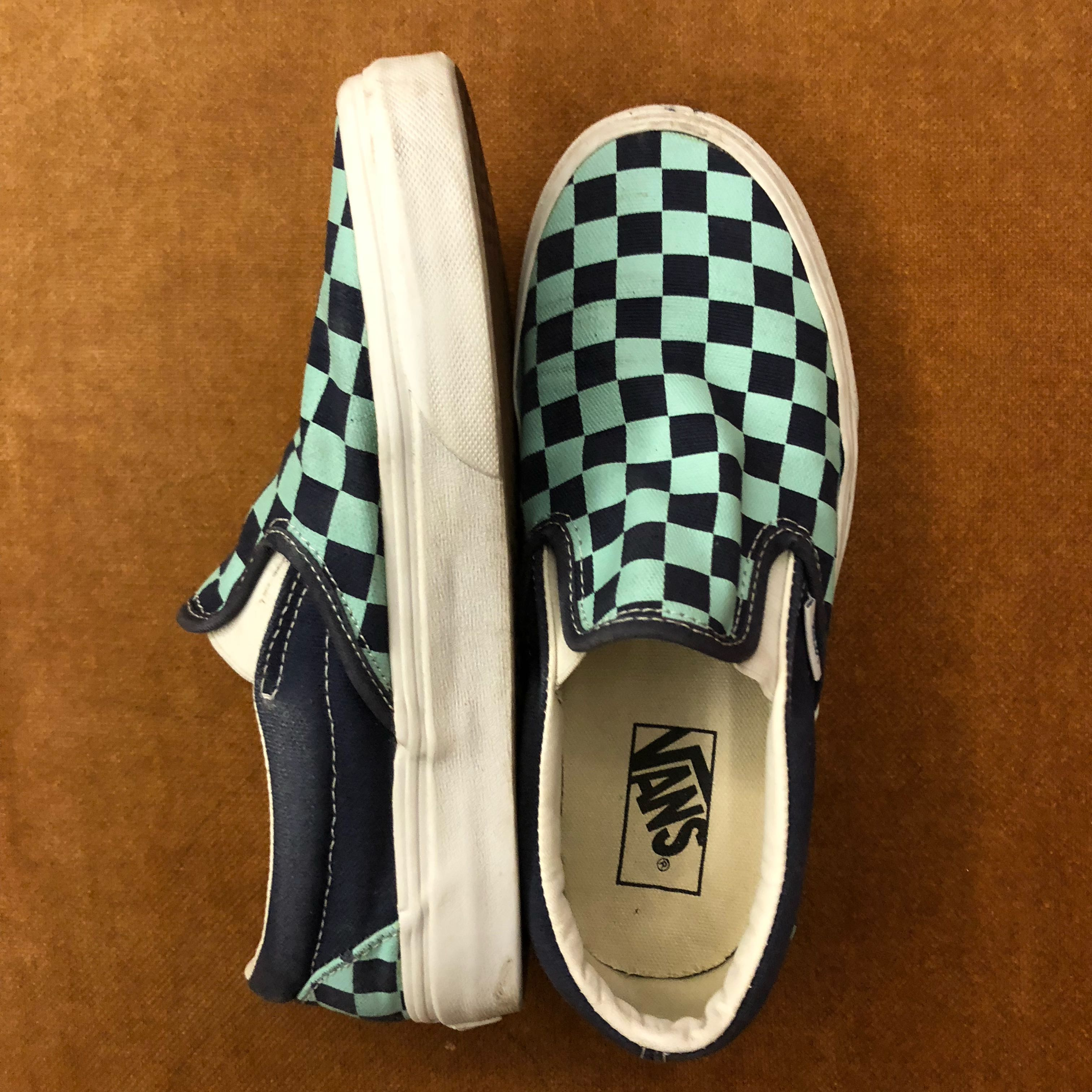 5667a18480e9 Vans Checkered Turquoise Navy Shoe
