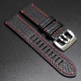 (236) 全新23mm黑色牛皮紅色車線錶帶配精鋼錶扣