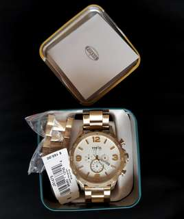 Fossil JR1479 Nate Chronograph Champagne Dial Gold Tone Watch