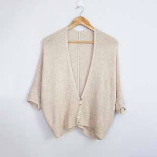 Korean Fashion Style Light Peach V-Neck Cardigan