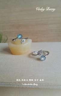 Labradorite Silver Plated Ring 天然 拉长石 镀银 活口 戒指