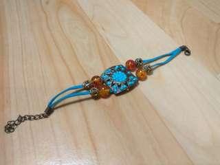 🚚 (國外帶回) 土耳其藍 寶石系 麂皮手鍊