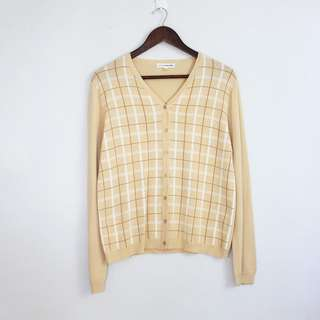 (S-M) Vintage Style Cream Yellow Checkered Cardigan Topper
