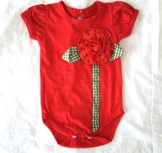 Bodysuit baby red with big flower