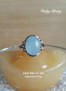 Aquamarine Silver Plated Ring 海蓝宝 镀银 活口 戒指