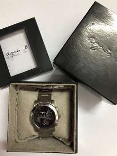 Agnes B Watch Black BWY0609 鋼帶 地圖 手錶 黑色