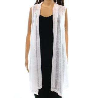 White Sleeveless Button Up Asymmetrical Cardigan