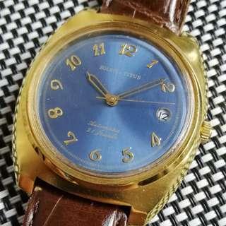70年代,鐵達時古董錶,原裝放射藍面無番寫,寶機字體,金字金針,21石日製自動機芯,已抹油行走精神,塑膠上蓋,大直徑36mm不連霸的,有意請pm