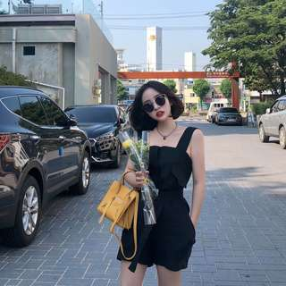 2018夏韓國推薦少女感復古洋氣減齡系帶高腰吊帶連體短褲女