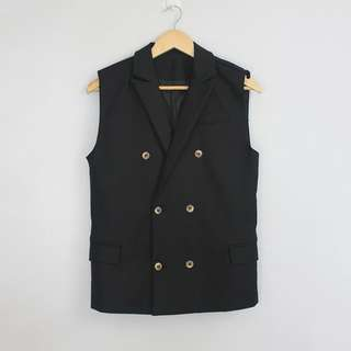 Vintage Black Long Vest with Gold Buttons Design