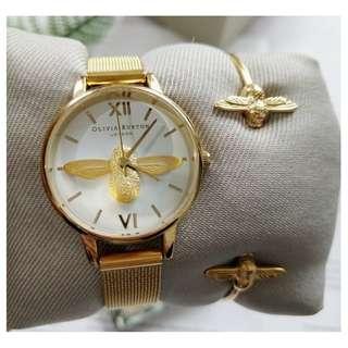 英國品牌 Olivia Burton London Watch 浮雕小蜜蜂 氣質百搭 圓形 鋼帶腕錶 女 手錶 30mm (OB030)