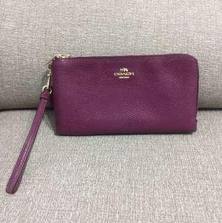 🚚 COACH紫色兩用皮夾手拿包