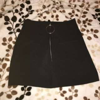 black circle zip skirt