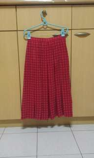 🚚 24腰中長過膝紅色裙