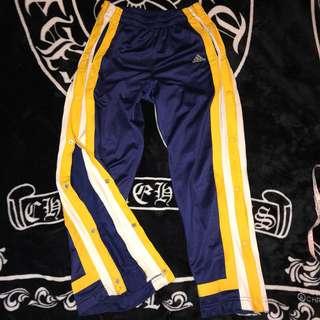 🚚 古著 老品 Adidas 電繡LOGO 壓釦式 撞色 拼接 線條 鍛面 亮面 透氣網眼 棉質 休閒褲 運動褲