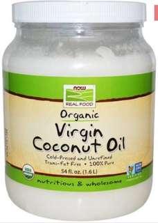限期優惠 Now Foods, 有機初榨椰子油,54盎司(1.6公升)