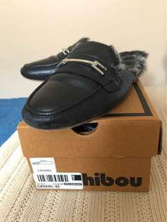 Hibou Fur-lined Leather Mules Size 6