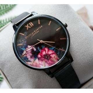 英國品牌 Olivia Burton London Watch 魔法花園 氣質百搭 女 手錶 黑框酷炫系列 金屬編織錶帶 38mm (OB039)