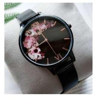 英國品牌 Olivia Burton London Watch 魔法花園 氣質百搭 女 手錶 黑框酷炫系列 金屬編織錶帶 38mm (OB041)