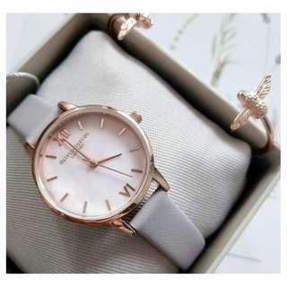 英國品牌 Olivia Burton London Watch 魔法花園 氣質百搭 文藝 真皮錶帶 女 手錶 30mm (OB043)