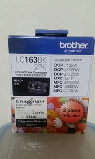 Brother LC163BK 2PK 2 Black Ink Cartridge