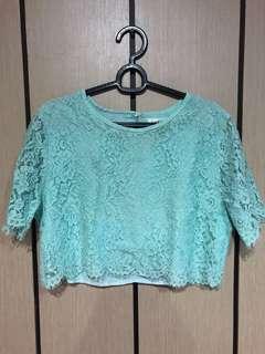 Lace Mint Crop Top