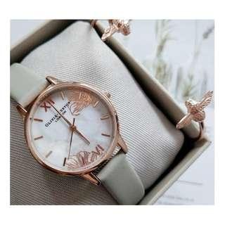 英國品牌 Olivia Burton London Watch 魔法花園 氣質百搭 文藝 真皮錶帶 女 手錶 30mm (OB045)