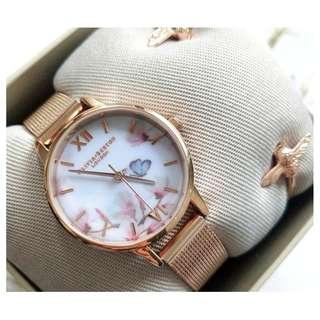 英國品牌 Olivia Burton London Watch 魔法花園 氣質百搭 可愛動物 鋼帶腕錶 女 手錶 30mm (OB048)