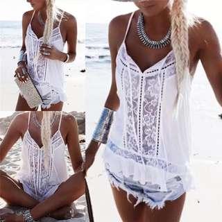 🚚 101000海邊度假無袖雪紡吊帶上衣size:M    #女裝半價拉