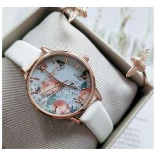 英國品牌 Olivia Burton London Watch 魔法花園 氣質百搭 可愛動物 真皮錶帶 女 手錶 30mm (OB050)