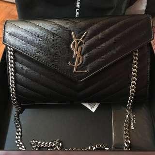 YSL SAINT LAURENT Classic Chain Wallet Bag Black