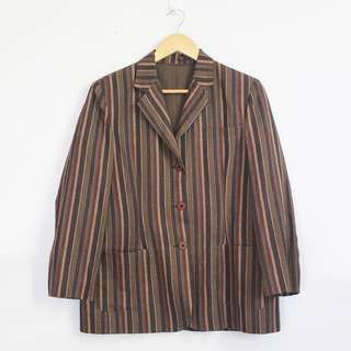 Vintage Dark Brown Striped Blazer Jacket