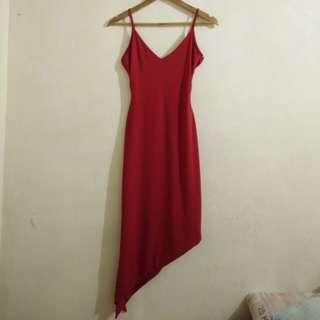 CS34 HQ Evening Red Gown (Leg Slit)