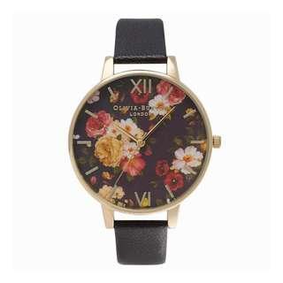 英國品牌 Olivia Burton London Watch 魔法花園 氣質百搭 女 手錶 真皮錶帶 花鳥蝴蝶 38mm (OB058)