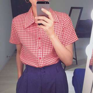 City Hot ✼紅白格襯衫✼ 尖領 下擺固定 開襟套頭 合身 女生短袖上衣 ulzzang 日本古着