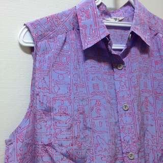 🚚 古著💟晨鹿紫色動物無袖襯衫