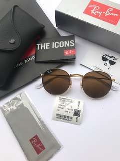Authentic Ray Ban Round Metal RB3447 001/33 50MM B15.