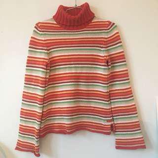 Multicolour Heavy Knit Turtleneck Sweater