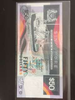 💥666777💥 🚢 Series $50 Note with Golden Fancy Semi-Solid Number G/92 666777 & with Ascending Leather Feature in AUNC Condition