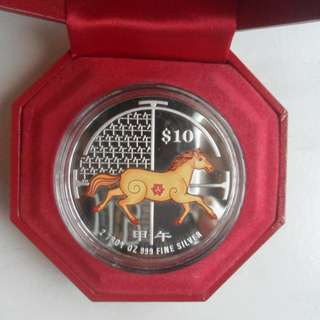 2014 Singapore Lunar Year of Horse $10 silver piedfort proof coin