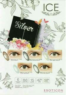 Softlens ICE SILVER Color SILVER GREY By X2/EXOTICON