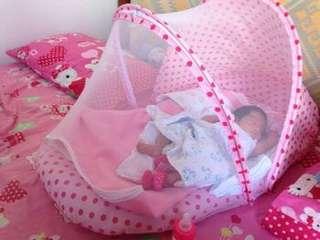 Baby mattress with mosquito net