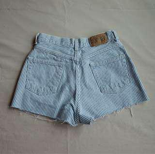 High waisted pinstripe shorts