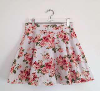 Rose Floral Skater Skirt