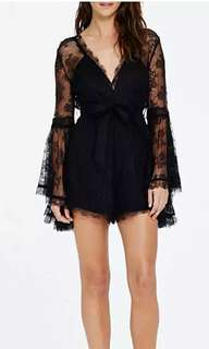 Black Lace V-shaped Romper/Playsuit with Bell Sleeve
