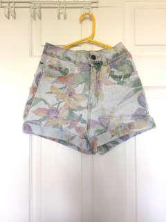 American Apparel Tropical Floral High Waisted Denim Shorts (Size 24)